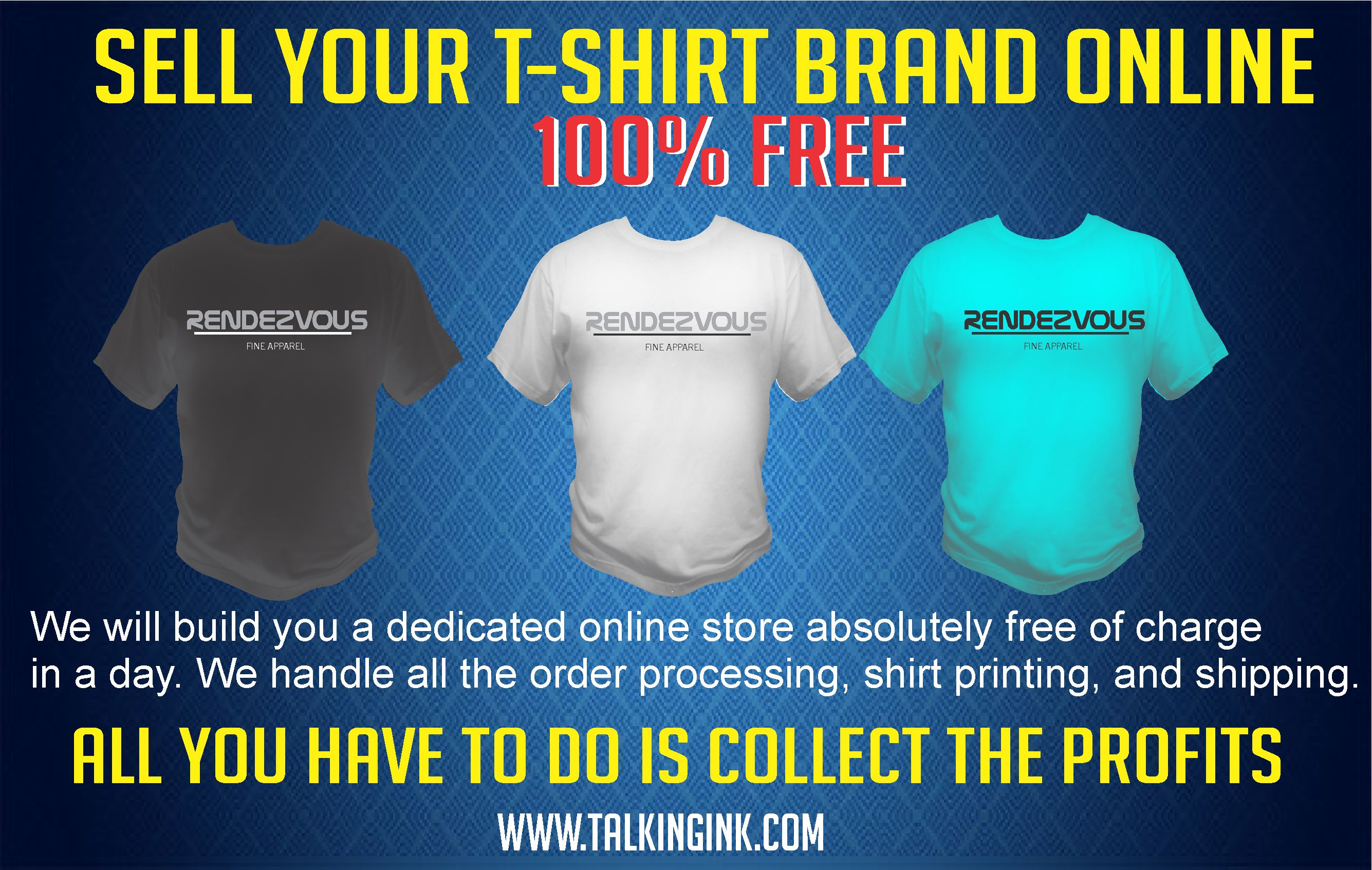 sell your t-shirt brand online free